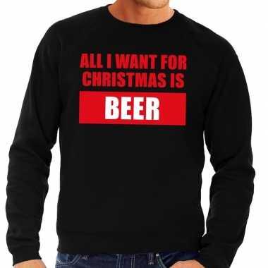 Foute kerstkersttrui christmas beer zwart voor heren