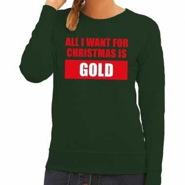 Foute kerstkersttrui christmas gold groen voor dames