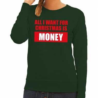 Foute kerstkersttrui christmas money groen voor dames