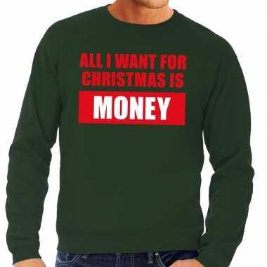 Foute kerstkersttrui christmas money groen voor heren