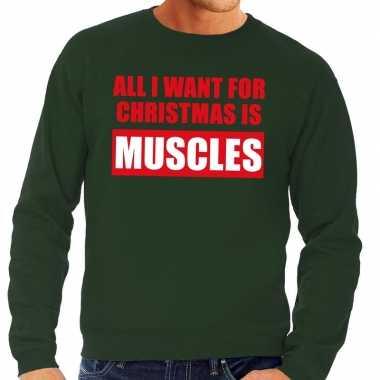 Foute kerstkersttrui christmas muscles groen voor heren