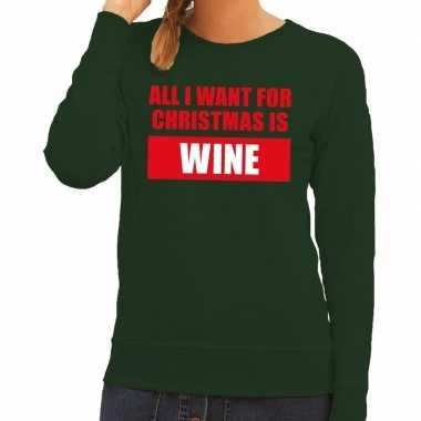 Foute kerstkersttrui christmas wine groen voor dames