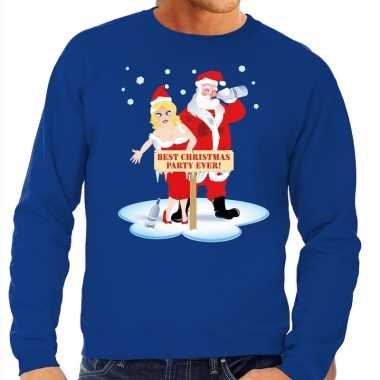 Foute kerstkersttrui dronken kerstman en kerstvrouw blauw heren