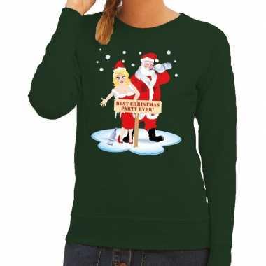 Foute kerstkersttrui dronken kerstman en kerstvrouw groen dames