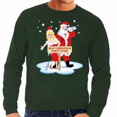 Foute kerstkersttrui dronken kerstman en kerstvrouw groen heren