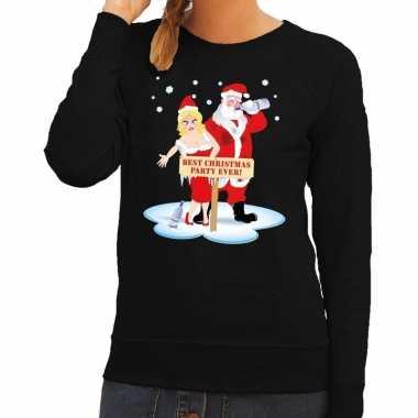 Foute kerstkersttrui dronken kerstman en kerstvrouw zwart dames