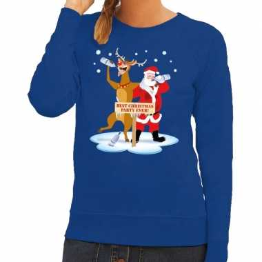 Foute kerstkersttrui dronken kerstman en rendier rudolf blauw dames