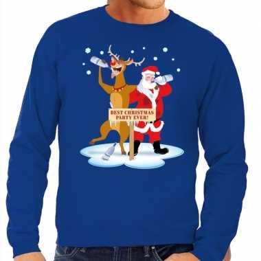 Foute kerstkersttrui dronken kerstman en rendier rudolf blauw heren