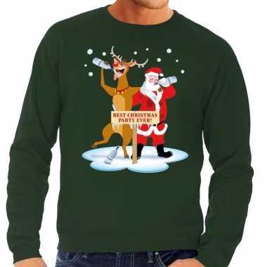 Foute kerstkersttrui dronken kerstman en rendier rudolf groen heren