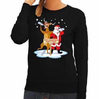 Foute kerstkersttrui dronken kerstman en rendier rudolf zwart dames
