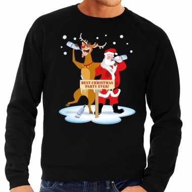 Foute kerstkersttrui dronken kerstman en rendier rudolf zwart heren