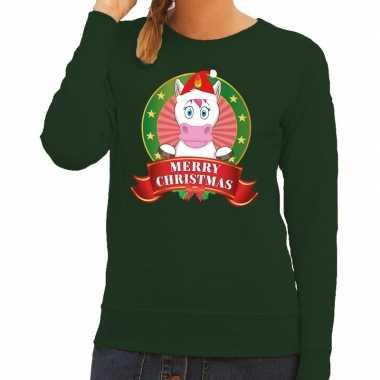 Foute kerstkersttrui eenhoorn groen merry christmas voor dames