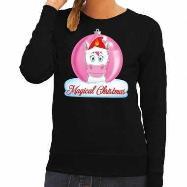 Foute kerstkersttrui eenhoorn magical christmas zwarte dames sweater