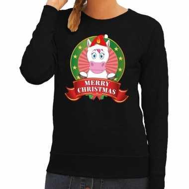 Foute kerstkersttrui eenhoorn zwart merry christmas voor dames