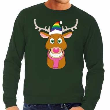 Foute kerstkersttrui gay rudolf het rendier groen heren