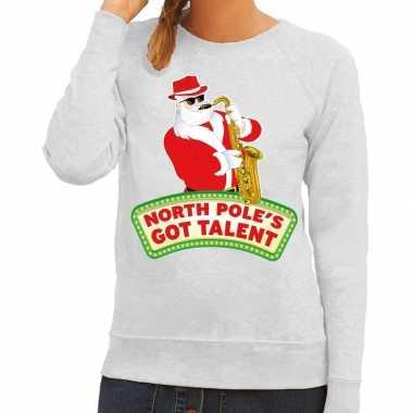 Foute kerstkersttrui grijs north poles got talent voor dames