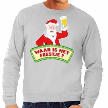 Foute kerstkersttrui grijs waar is het feestje voor heren