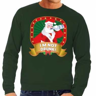 Foute kerstkersttrui groen im not drunk voor heren