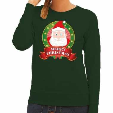 Foute kerstkersttrui groen kerstman merry christmas voor dames