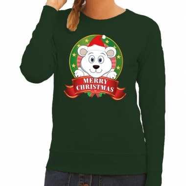 Foute kerstkersttrui groen merry christmas ijsbeer voor dames