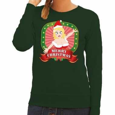 Foute kerstkersttrui groen merry christmas kerstvrouw voor dames