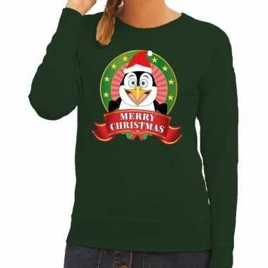 Foute kerstkersttrui groen merry christmas pinguin voor dames