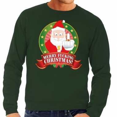 Foute kerstkersttrui groen merry fucking christmas voor heren