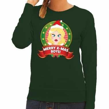 Foute kerstkersttrui groen merry x mas boys voor dames