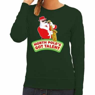 Foute kerstkersttrui groen north poles got talent voor dames