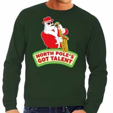 Foute kerstkersttrui groen north poles got talent voor heren
