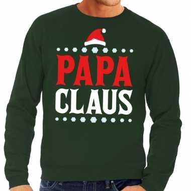 Foute kerstkersttrui groen papa claus voor heren