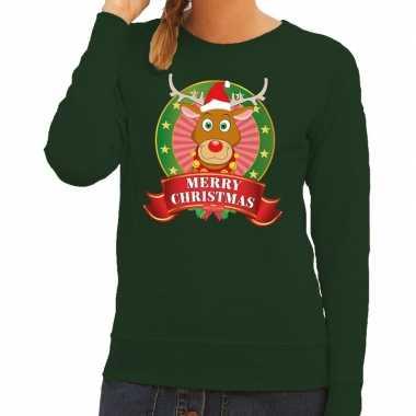 Foute kerstkersttrui groen rudolph merry christmas voor dames