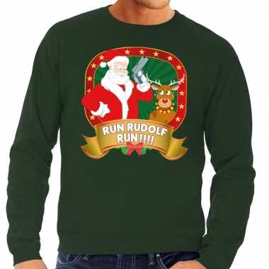 Foute kerstkersttrui groen run rudolf run voor heren