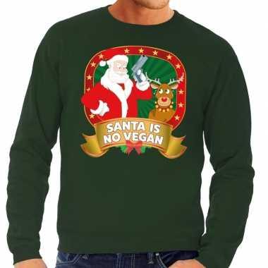 Foute kerstkersttrui groen santa is no vegan voor heren