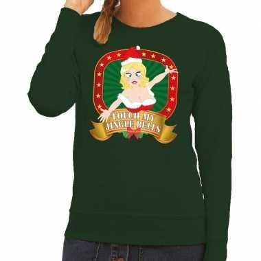 Foute kerstkersttrui groen touch my jingle bells voor dames