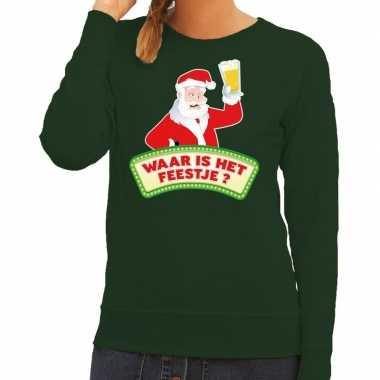 Foute kerstkersttrui groen waar is het feestje voor dames