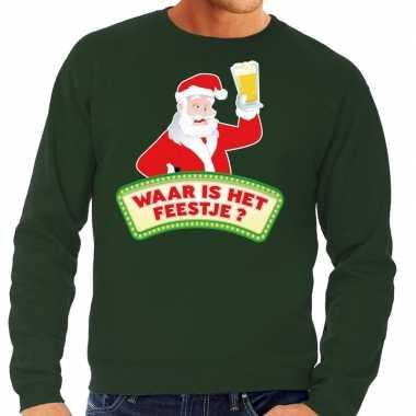 Foute kerstkersttrui groen waar is het feestje voor heren