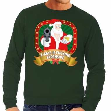 Foute kerstkersttrui groen x mas is fucking expensive voor heren
