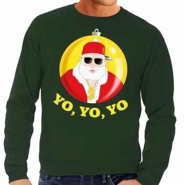 Foute kerstkersttrui hip hop / rapper santa groen voor heren