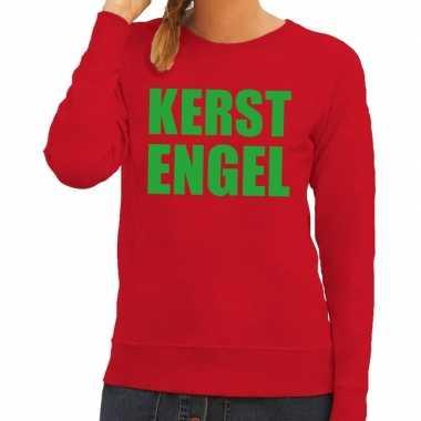 Foute kerstkersttrui kerst engel rood voor dames
