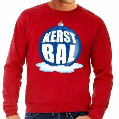 Foute kerstkersttrui kerstbal blauw op rode sweater voor heren