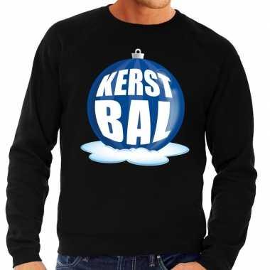 Foute kerstkersttrui kerstbal blauw op zwarte sweater voor heren