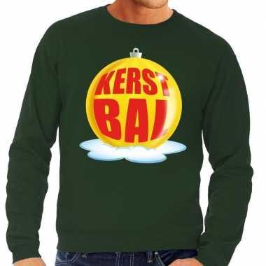 Foute kerstkersttrui kerstbal geel op groene sweater voor heren