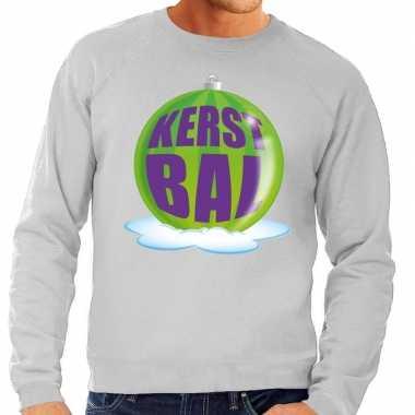 Foute kerstkersttrui kerstbal groen op grijze sweater voor heren
