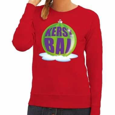 Foute kerstkersttrui kerstbal groen op rode sweater voor dames