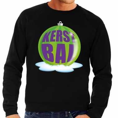 Foute kerstkersttrui kerstbal groen op zwarte sweater voor heren