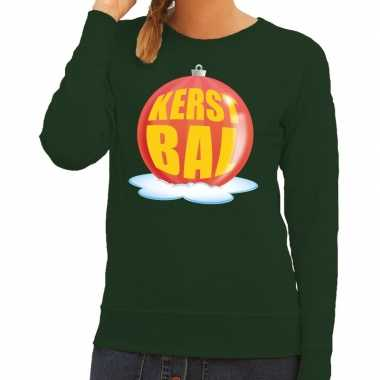 Foute kerstkersttrui kerstbal rood op groene sweater voor dames