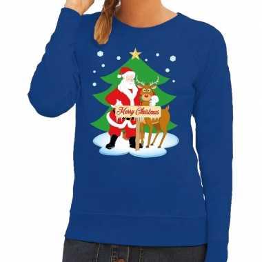 Foute kerstkersttrui kerstman en rendier rudolf blauw dames