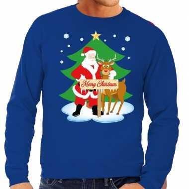 Foute kerstkersttrui kerstman en rendier rudolf blauw heren