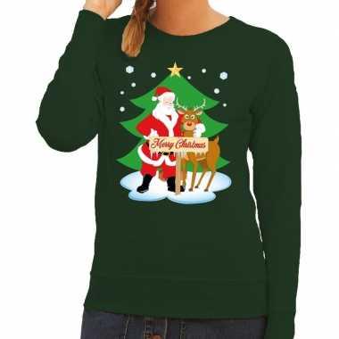 Foute kerstkersttrui kerstman en rendier rudolf groen dames